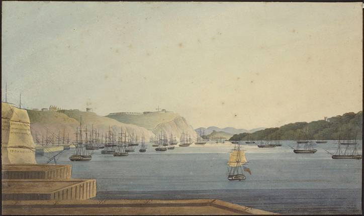 A View of the British Fleet Anchored at Quebec Looking from Wolfe's Cove toward Cape Diamond [graphic material]  (item 1)